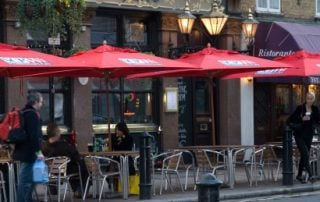 side walk cafe parasols