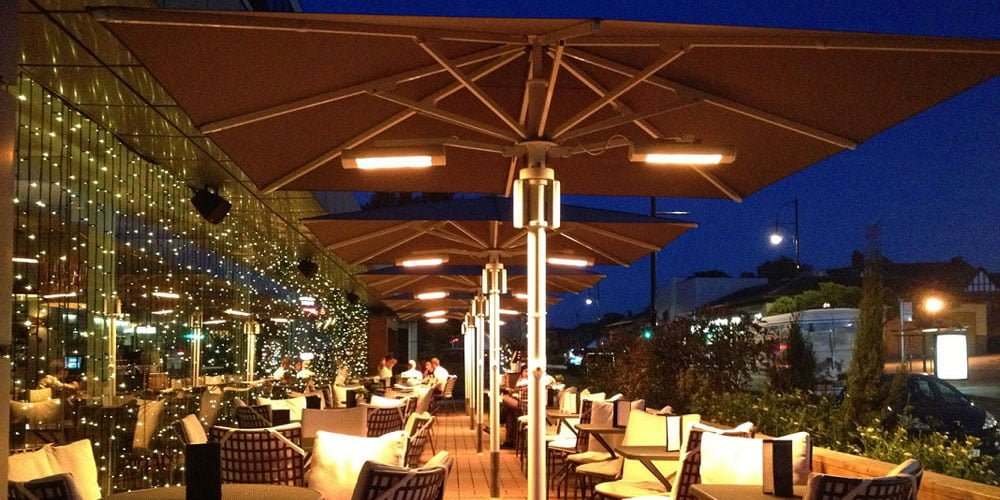 lighting and heating options available for parasols
