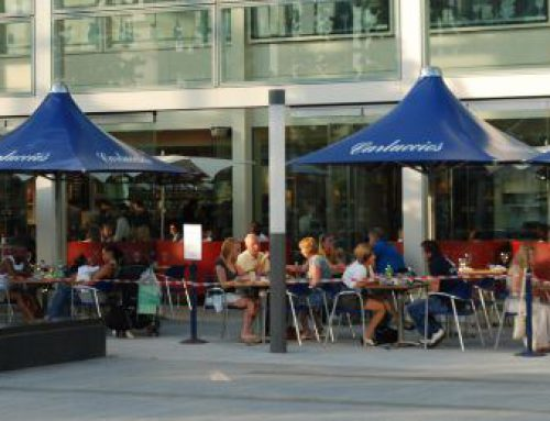 Shopping Centre Outdoor Area Uses Vortex Parasols