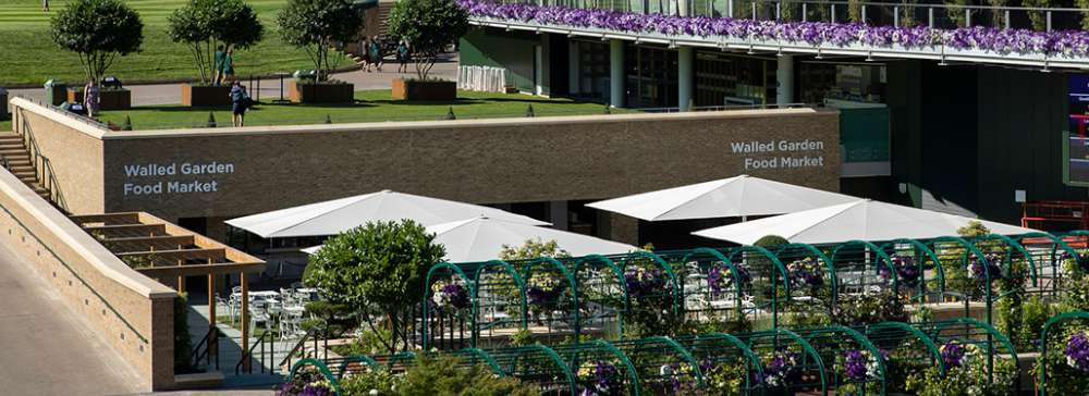 Wimbledon walled garden jumbo parasols